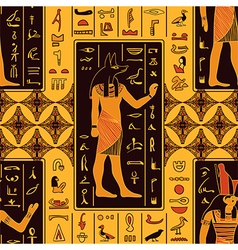 Egyptian gods and ancient hieroglyphs vector