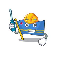 Flag aruba character automotive cartoon style vector