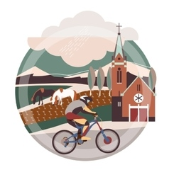 Flat of downhill bicycle in europe vector image