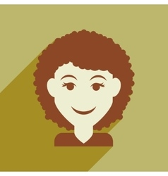 Flat web icon with long shadow womens haircut vector