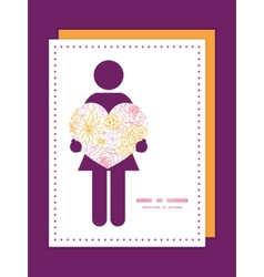 Flowers outlined woman in love silhouette vector
