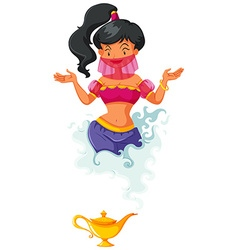 Genie coming out of lantern vector