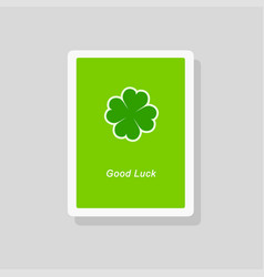 good luck greeting card with four leaf clover vector image