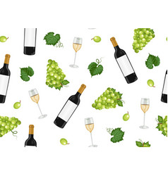 grape bunch seamless pattern with white wine vector image