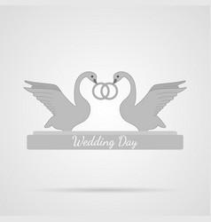 gray wedding swans flat icon vector image