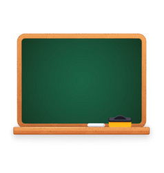 green blackboard with chalk and sponge vector image