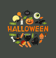 halloween symbols collection halloween symbols vector image