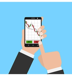 Hand holding smartphone with forex stock chart vector