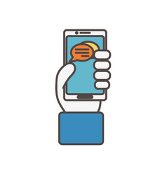 hand with smartphone chat social media icon vector image