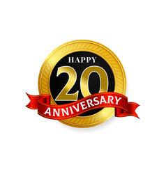 happy 20 years golden anniversary logo vector image