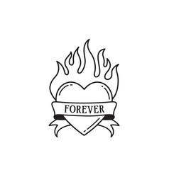 heart and fire tattoo with wording forever vector image