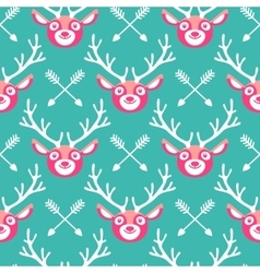 hipster seamless pattern with deer and arrows vector image