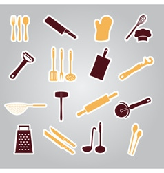 home kitchen cooking utensils stickers eps10 vector image
