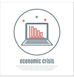icon on a theme of economic crisis with notebook vector image