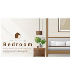 interior design with modern bedroom background vector image