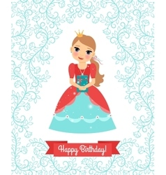 Little Princess happy birthday card vector image