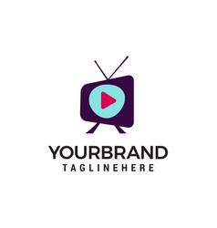 media television logo design concept template vector image