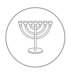 Menorah icon in outline style isolated on white vector