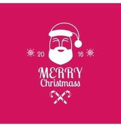 Merry Christmas card with Santa Claus on pink vector