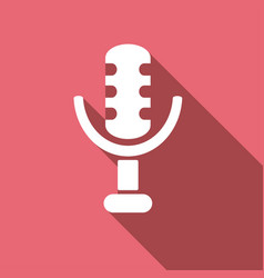 Microphone icon with a long shadow vector