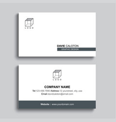 Minimal business card print template design gray vector