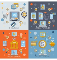 Mobile banking icons flat vector image