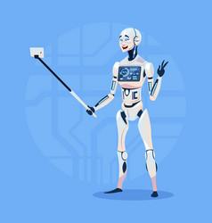 Modern robot taking selfie photo futuristic vector