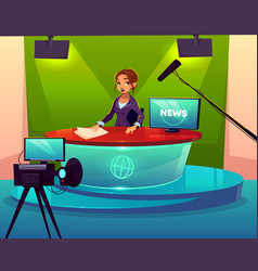 News presenter in television studio cartoon vector