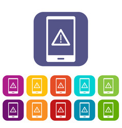 Not working phone icons set flat vector