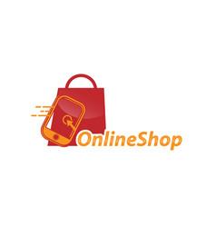 online shop logo designs template shopping logo vector image