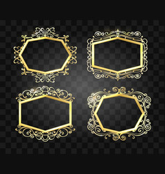 Ornate glow golden frames set vector