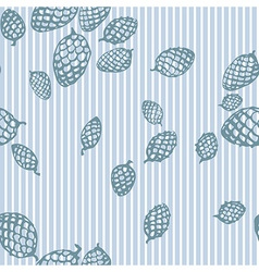 Pattern with fir cone and stripes vector