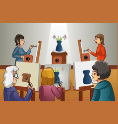 people in painting class vector image