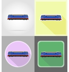 Railway transport flat icons 16 vector
