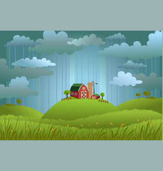 Rainy day in the village vector