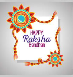 Raksha bandhan card with flowers bracelet vector