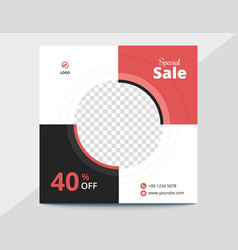 Red and black circles sale banner vector