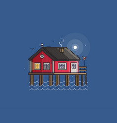 red fisherman stilt house vector image