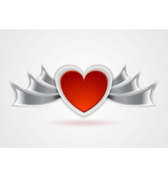 Red heart with metal wings vector