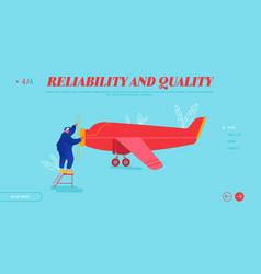 Repair and maintenance aircraft website landing vector