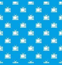retro tv pattern seamless blue vector image