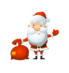 santa with a bag of gifts in his hand vector image
