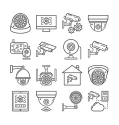 security surveillance camera cctv thin line icons vector image