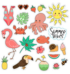set cute summer stickers isolated on white vector image