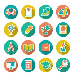 Set flat icons of school and education vector