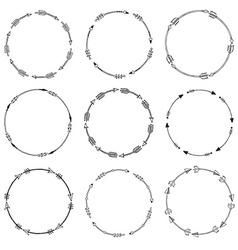 Set of arrow borders tribal frames vector