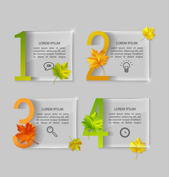set of glass banners with autumn maple vector image