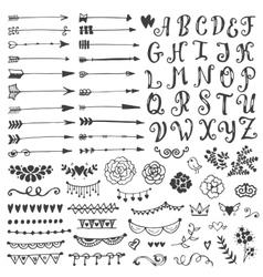 Set of vintage sketch elements vector