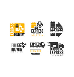 Shipping and delivery service logos set vector
