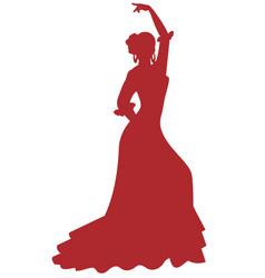 Silhouette spanish flamenco dancer woman vector